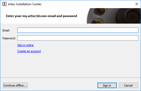 Offline activation – Artec Support Center